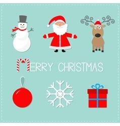 Merry Christmas set Snowman Santa Claus deer ball vector image vector image