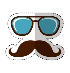 mustache silhouette isolated icon vector image vector image