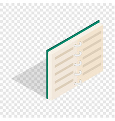 Open book in blue cover isometric icon vector