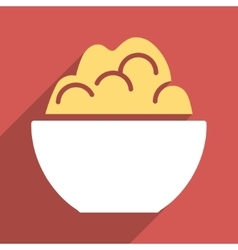 Porridge bowl flat longshadow square icon vector