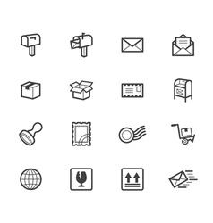 Post element black icon set on white background vector