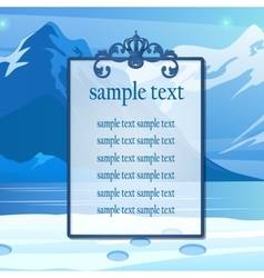 Poster for text on the snowy mountains background vector
