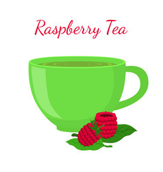 raspberry tea in cup with berries vector image vector image