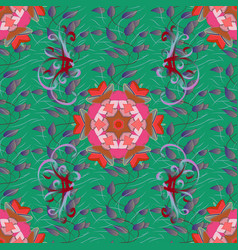 seamless floral pattern with flowers leaves vector image