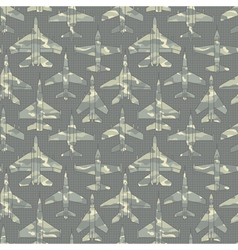 seamless pattern with military airplanes 02 vector image