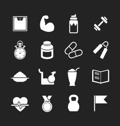 Set icons of fitness vector image vector image