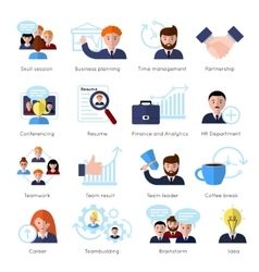Teamwork flat icon set vector