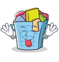 Tongue out laundry basket character cartoon vector