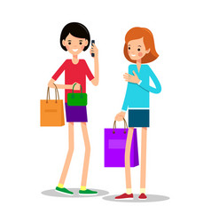 two young girls with shopping bags one girl with vector image vector image