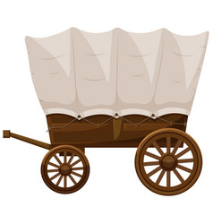 Wagon with wooden wheels vector