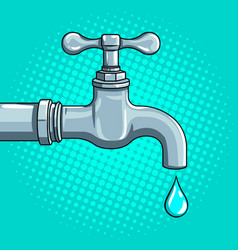 water tap with drop pop art vector image