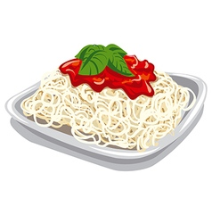 pasta with tomato sauce vector image