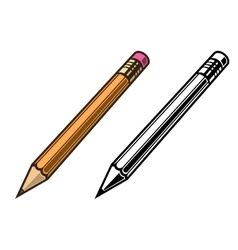 Pensil set colored and black vector image
