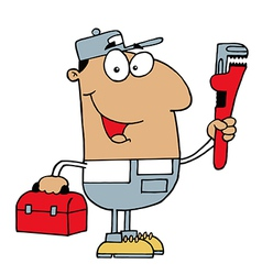 Hispanic plumber man carrying a wrench and tool vector
