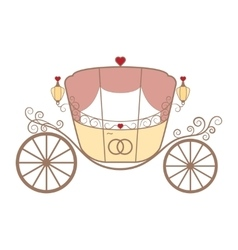 Wedding retro carriage with curls on white vector
