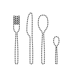 Fork spoon and knife sign black dashed vector