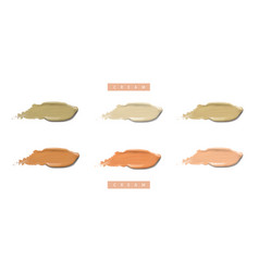 Cosmetic liquid cream foundation set in different vector