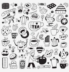 tea and coffee cups - doodles set vector image