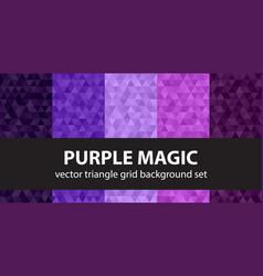 triangle pattern set purple magic geometric vector image