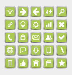 Green square icons social media and internet vector