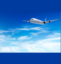 Airplane fly in the in a blue cloudy sky travel vector