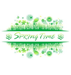 Green spring grass with flower and butterflies vector