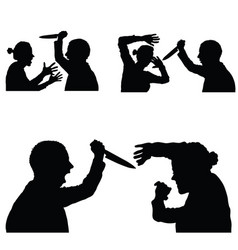 Violence in family set with knife vector