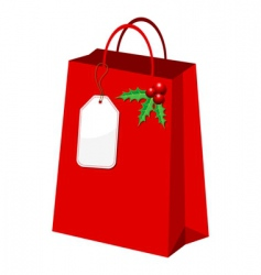 Christmas shopping bag vector image