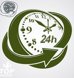 3d round 24 hours clock with arrow around simple vector