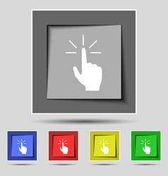 Click here hand icon sign on the original five vector