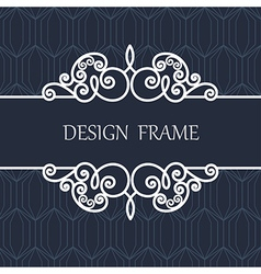 Decorative line label with ornament vector
