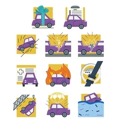 Auto insurance colored flat icons vector