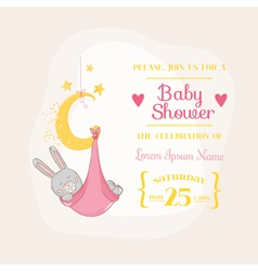 Baby girl shower or arrival card - with baby bunny vector