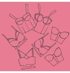 Women bra doodle underwear vintage lingerie vector