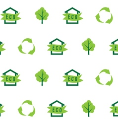 Seamless pattern eco house green tree recycling vector