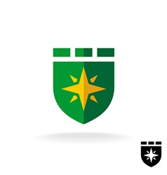 Shield logo with four rays sign flat design style vector