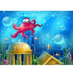Atlantis ruins cartoon octopus - background vector