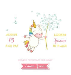 Baby shower or arrival card - baby unicorn girl vector