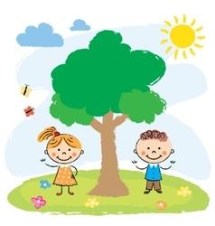 Boy and girl near big tree vector