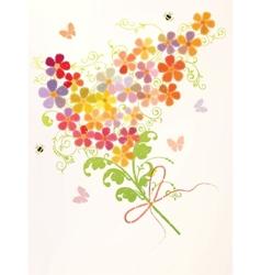 Bunch of beautiful flowers vector