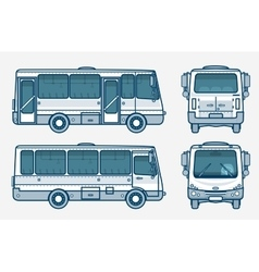 Bus front side back view line style vector