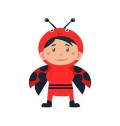 Child wearing costume of ladybird vector