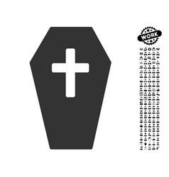 Coffin icon with men bonus vector