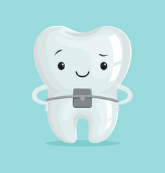 Cute healthy orthodontic cartoon tooth character vector