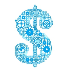 Dollar sign in the form of a gear mechanism vector image
