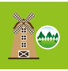 Farm countryside windmill design vector