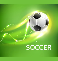 flaming football or soccer ball flying with fire vector image vector image
