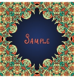 Green ornate frame with paisley pattern vector