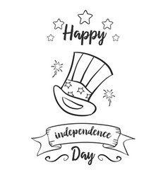 Hand draw of independence day card style vector