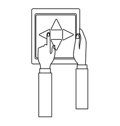 Hand holding tablet controlling drone concept vector